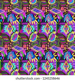 Ethnic doodles pattern. Tribal print. Simple sketch background. Aztec. Abstract geometric fabric. Cloth design. Embroidery. Fashion. Hippie. Textile ornament. Navajo. Hand drawn seamless vector.