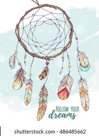 ethnic dream catcher with feathers; american Indian style; hand drawn vector illustration in sketch style on blue grunge textured background;