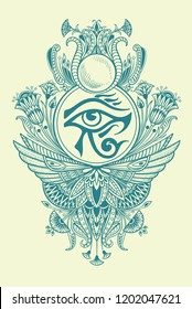 Ethnic Egyptian symbol of the god Ra with an eye