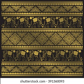 Ethnic elephant pattern vector