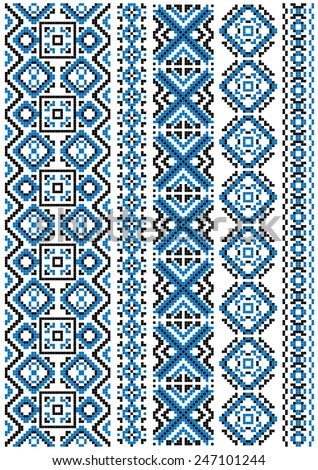 Ethnic Embroidery Patterns Borders Blue Geometric Stock Vector