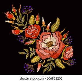 Ethnic embroidery rose peony flowers and herbs floral design. Fashion satin stitch stitches ornament on black for textile, fabric traditional folk decoration. Vector illustration stock vector.