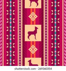 Ethnic fabric seamless pattern with lamas
