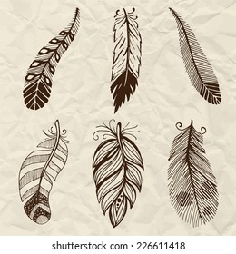 Ethnic feather vector set. Hand-drawn illustration.