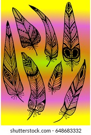 Ethnic feathers patterns set contours drawing hand gradient background vector illustration
