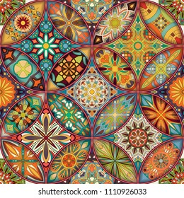 Ethnic floral mandala seamless pattern. Colorful mosaic background