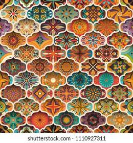 Ethnic floral mandala seamless pattern. Colorful mosaic background