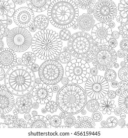 Ethnic floral mandalas, doodle background circles in vector. Seamless pattern. Black and white pattern for coloring book for adults and kids.