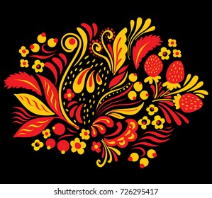 Ethnic floral ornament with leaves, flowers, berries. Russian folk style hohloma element in red blue and yellow colors on black background.