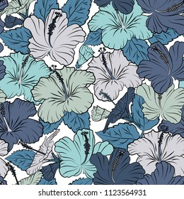 Ethnic floral seamless pattern in gray, black and blue colors with decorative hibiscus flowers. Vector illustration.