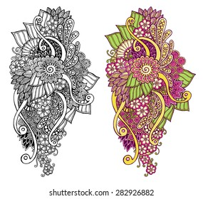 Ethnic floral zentangle, doodle background pattern circle in vector. Henna paisley mehndi doodles design tribal design element. Black and white pattern for coloring book for adults and kids.