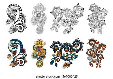 Ethnic floral zentangle, doodle background pattern in vector. Henna paisley mehendi tribal design element. Black and white patterns for coloring book for adults and kids, coloring version. Vol 4