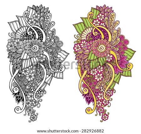 dd872b08 Ethnic floral zentangle, doodle background pattern circle in vector. Henna  paisley mehndi doodles design tribal design element. Black and white pattern  for ...