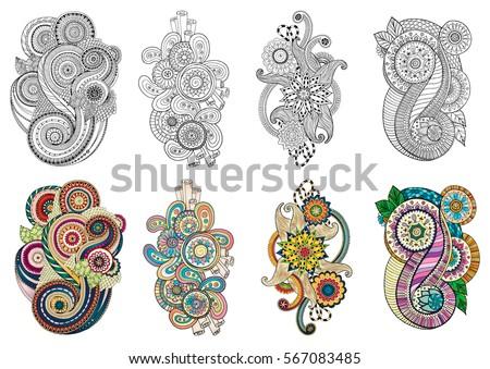 Ethnic Floral Zentangle Doodle Background Pattern In Vector Henna Paisley Mehendi Tribal Design Element