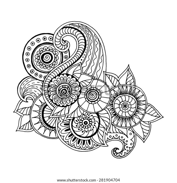 Ethnic Floral Zentangle Doodle Background Pattern Stock