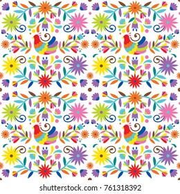 Ethnic flower pattern inspired in traditional mexican art