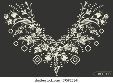 ethnic flowers neck line embroidery graphic designs