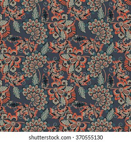 ethnic flowers seamless vector pattern. floral vintage background in damask style