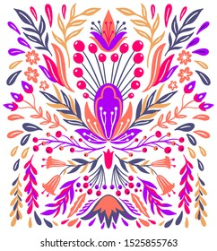 Ethnic folk flower bright color in white background.Symmetry specular composition.Traditional ornament.Vector illustration.
