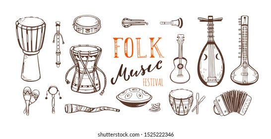 Ethnic, folk music festival vector collection. Different music traditional folk instruments. handwritten Lettering