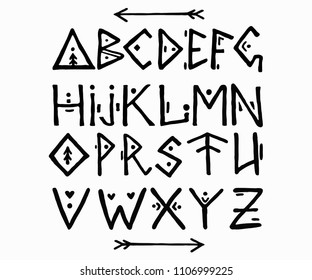 Ethnic font in scandinavian style. ABC hand drawn letters. Ancient calligraphy. Vector symbols
