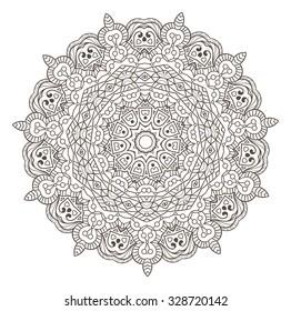 Ethnic Fractal Mandala Vector Meditation looks like Snowflake or Maya Aztec Pattern or Flower Isolated on White