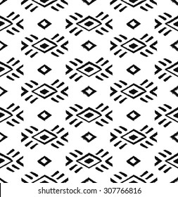 Ethnic geometric pattern. Black and white