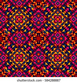 Ethnic geometric pattern, seamless background in traditional tribal folk style.