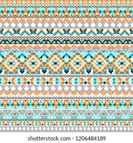 Ethnic geometric seamless pattern with elements of traditional tribal folk style.