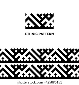 Ethnic geometric seamless pattern. Khanty deer antlers ornament. Authentic indigenous peoples of the north square ornament. Pattern in swatches.