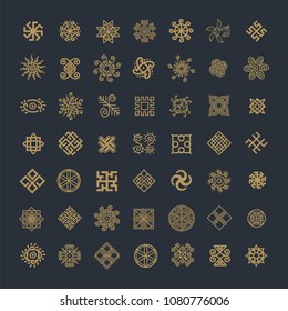 Ethnic geometric signs set. Set of icons with Slavic pagan symbols for your design