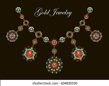 Ethnic gold necklace with semiprecious stones, carnelian, turquoise, lapis lazuli, gems on black background.
