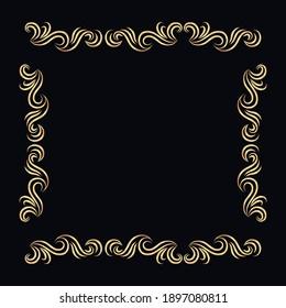 Ethnic golden floral frame design decorative background