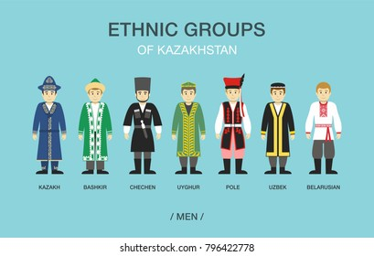 Ethnic groups of Kazakhstan. People in traditional costumes. Flat vector illustration.
