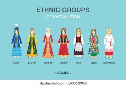 Ethnic groups of Kazakhstan. Women in traditional costume or dress. Flat vector illustration.
