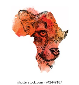 Ethnic hand drawing head of cheetah in the vector map of Africa. Vector illustration. Abstract Background with Watercolor Stains