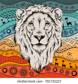 Ethnic hand drawing  head of lion on African hand-drawn ethno pattern. totem / tattoo design. Use for print, posters, t-shirts. Vector illustration
