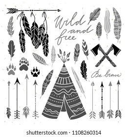 Ethnic Indian elements illustration set. Vintage feathers and arrows graphic elements