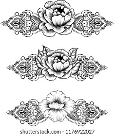 Ethnic indian line art border in mehendi ethnic style on a white background, mehendi template