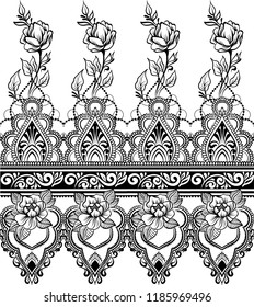 Ethnic indian line art seamless border with flowers in mehendi ethnic style on a white background