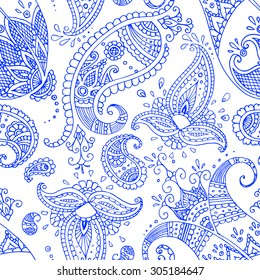 Ethnic Indian paisley seamless pattern