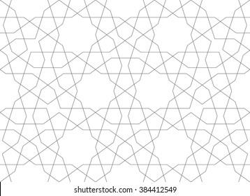Ethnic line islamic pattern. Seamless vector geometric background in arabian style