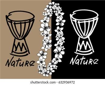 Ethnic logo with drum.
