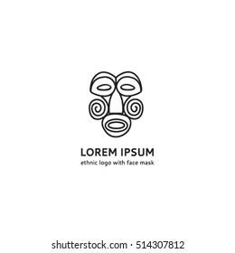 Ethnic logo with a face mask. Logo template ethnic mask. Ancient mask logo