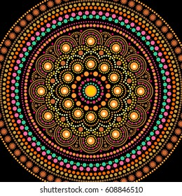 Ethnic mandala design. Dot painting art in aboriginal style. Decorative round ornament