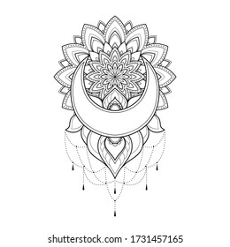 Ethnic mandala with moon and flowers for greeting card, invitation, Henna drawing and tattoo template. Moon  tattoo. Vector illustration