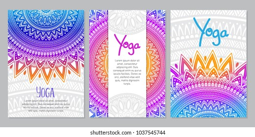 Ethnic Mandala ornament. Colorful ornamental ethnic banner set. Templates with doodle tribal mandalas. Vector illustration for congratulation or invitation.