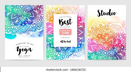 Ethnic Mandala ornament. Colorful ornamental ethnic banner set. Mandala cards over colorful watercolorbackdrop. Vector illustration for congratulation or invitation.