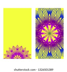 Ethnic Mandala Ornament. Templates With Mandalas. Vector Illustration For Congratulation Or Invitation Diwali Festival Greeting Card. Yellow purple color.