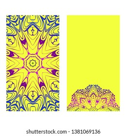 Ethnic Mandala Ornament. Templates With Mandalas. Vector Illustration For Congratulation Or Invitation. The Front And Rear Side. Yellow, rainbow color.